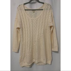 Lucky Brand Cream Knit Sweater Size Large